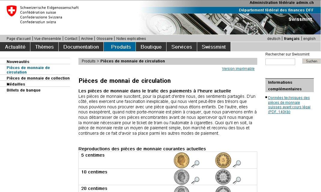 Print screen site swissmint.ch
